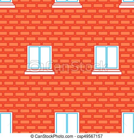 Red brick wall clipart freeuse stock Windows and Brick Wall seamless texture. Red Bricks Background freeuse stock