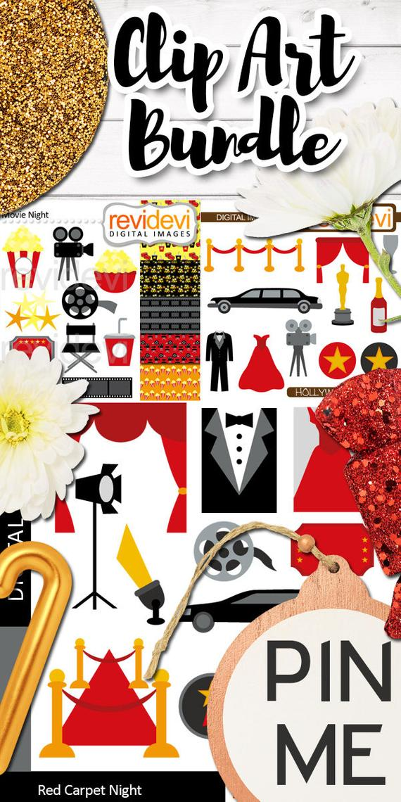 Red carpet clipart limousine image royalty free Red carpet night Hollywood party clipart sale bundle / movie ... image royalty free