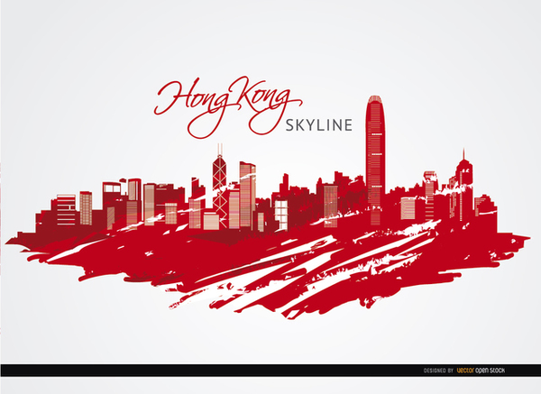 Red city clipart image stock Hong Kong City Buildings Painted Red Free Vector image stock
