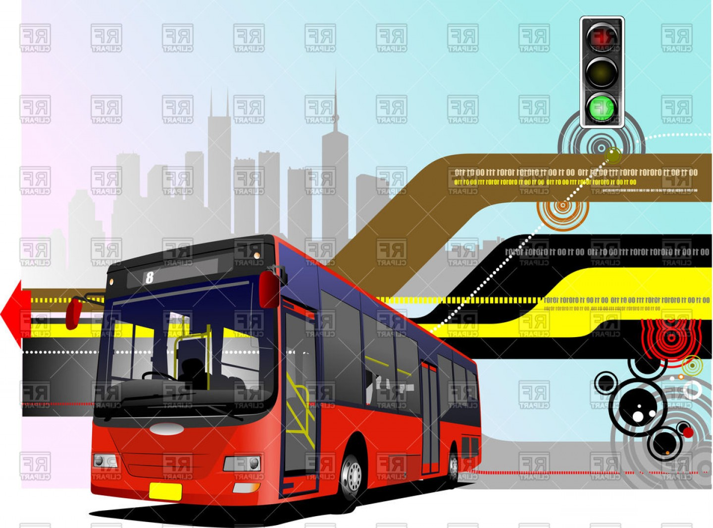 Red city clipart picture black and white library Modern Red City Bus And City Silhouette On Abstract ... picture black and white library
