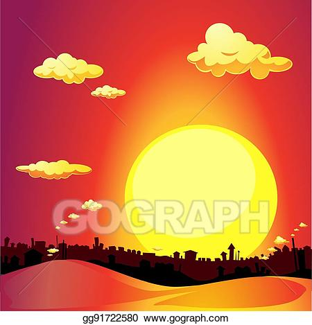 Red city clipart clipart library stock Vector Art - Red city sunset - vector illustration. EPS ... clipart library stock