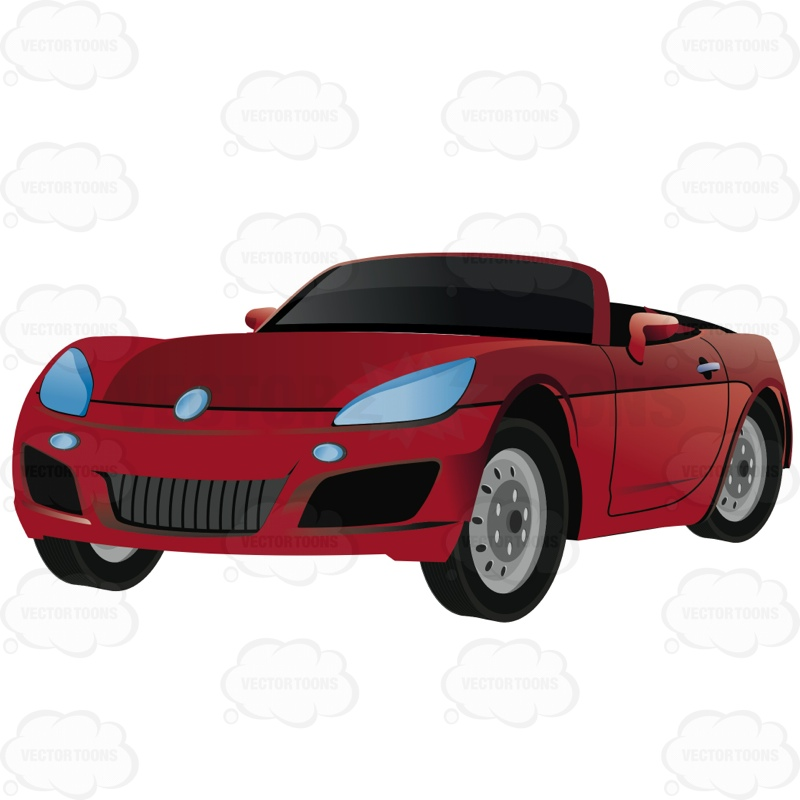 Red convertible clipart clip freeuse library Red Convertible Sports Car With The Rood Down | Stock ... clip freeuse library
