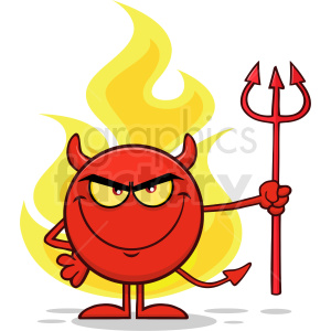 Red Devil Cartoon Emoji Character Holding A Pitchfork Over Flames Vector  Illustration Isolated On White Background clipart. Royalty-free clipart #  ... image black and white