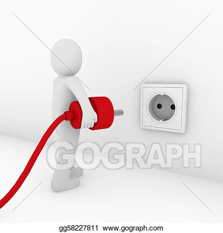 Red energy clipart vector transparent stock Stock Illustration - 3d man plug socket red . Clipart ... vector transparent stock