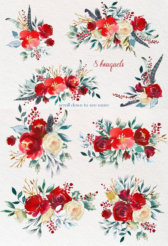 Boho Scandi Red Flowers PNG png black and white stock