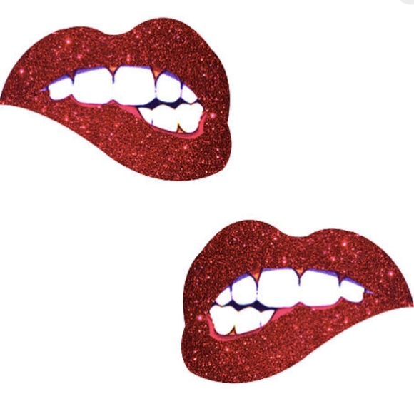 Bite me Red Glitter Lip Nipple Pasties Boutique clip black and white library