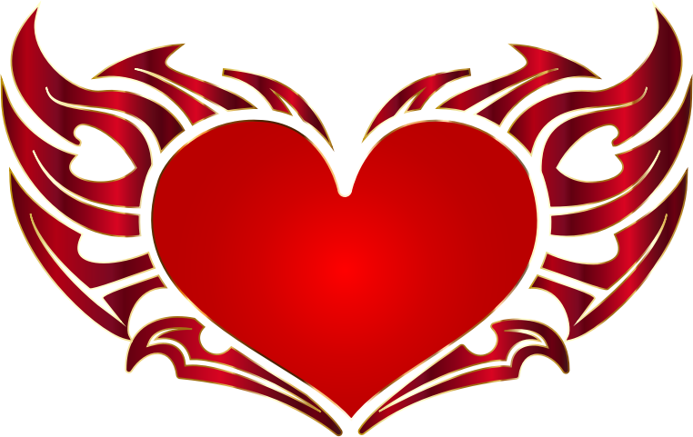 Clipart - Tribal Heart Enhanced No Background svg library stock