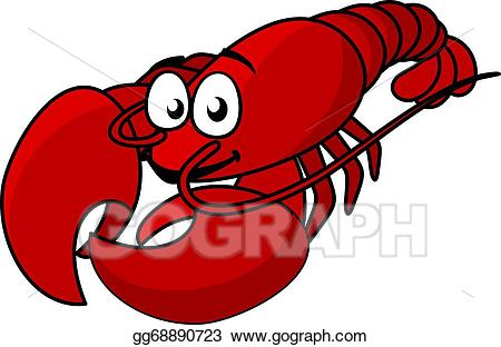 Red lobster clipart jpg library Vector Illustration - Cartoon red lobster. EPS Clipart ... jpg library