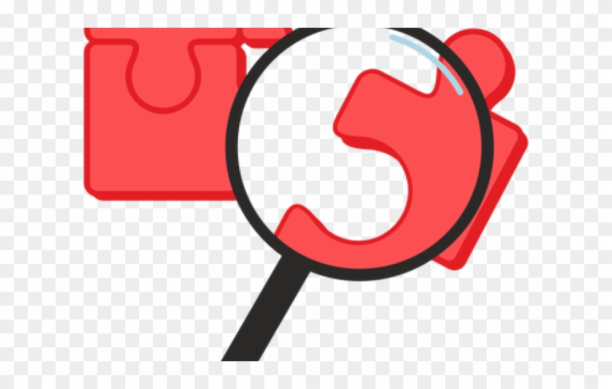 Red Clipart Magnifying Glass - Puzzle Pieces Magnifying ... clip stock
