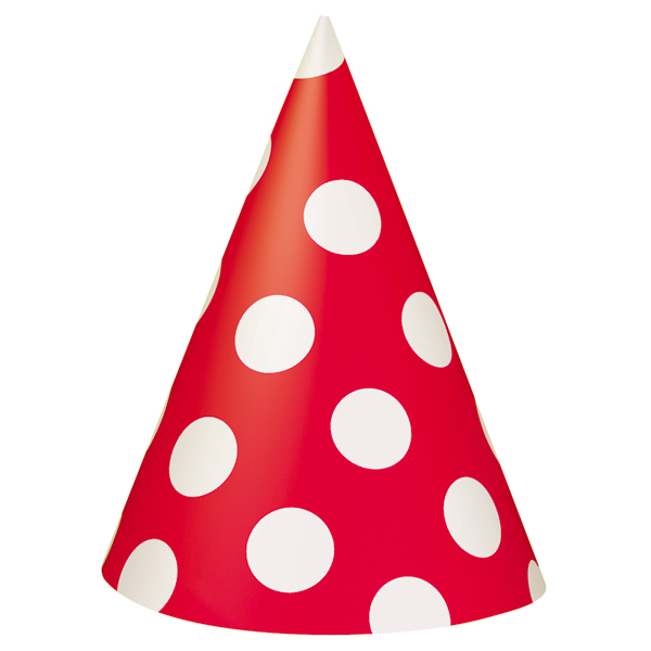 Red party clipart banner transparent download Red Polka Dot Party Hats (8) At Birthday Direct - Cliparts.co banner transparent download