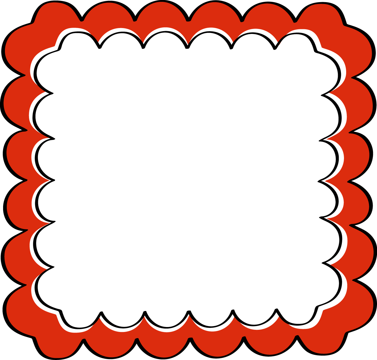 Red photo frame clipart graphic library download Scrapbook Frames and Borders | Red Scalloped Frame - Free ... graphic library download