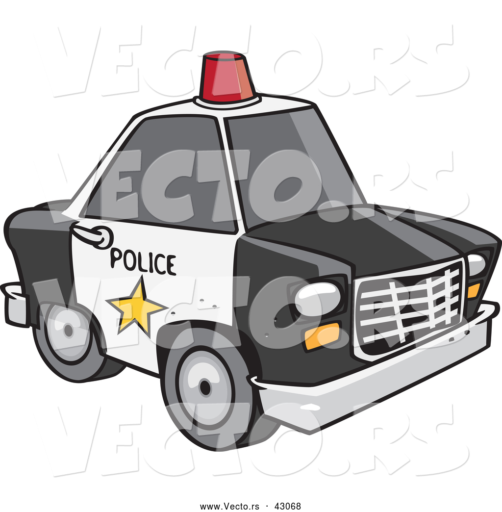 Red police car clipart png royalty free download Vector of a Black and White Police Car with a Red Siren on the ... png royalty free download