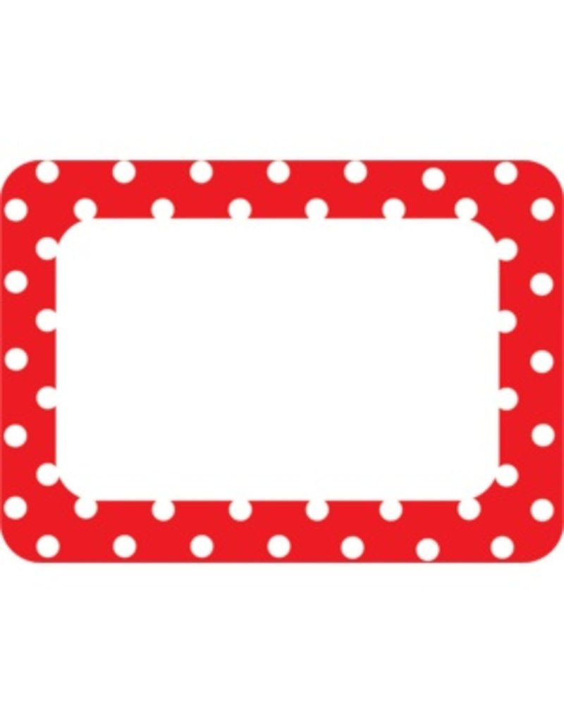 Red Polka Dots 2 Name Tags/Labels freeuse stock
