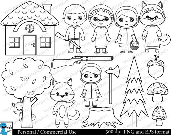 Red riding hood clipart black and white clip art stock Outline Little Red Riding Hood Set Clipart - Digital Clip ... clip art stock