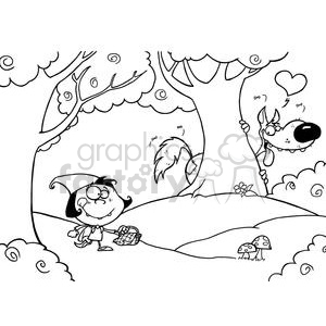Red riding hood clipart black and white clip royalty free download Black and White Scene Of Little Red Riding Hood clipart. Royalty-free  clipart # 378375 clip royalty free download