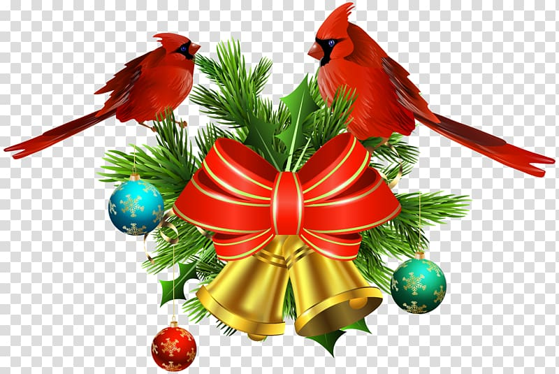 Red sparrow clipart image black and white library Two red sparrow birds perched on Christmas decor ... image black and white library