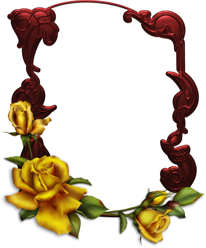 Red star frame clipart image freeuse Dark Red Transparent Frame with Yellow Roses | Gallery Yopriceville ... image freeuse