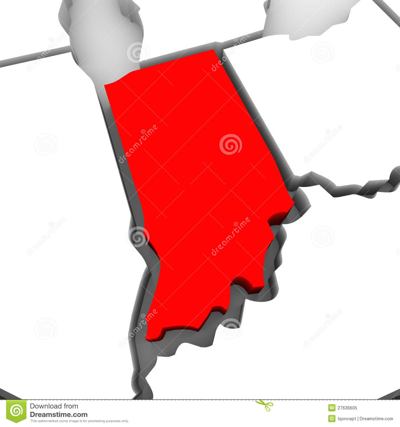 Red state map clipart banner transparent Indiana Red Abstract 3D State Map United States America Royalty ... banner transparent