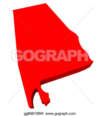 Red state map clipart image black and white stock Clipart - Alabama al red 3d state map. Stock Illustration ... image black and white stock
