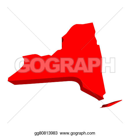 Red state map clipart clipart library Stock Illustration - New york ny red usa 3d state map. Clipart ... clipart library