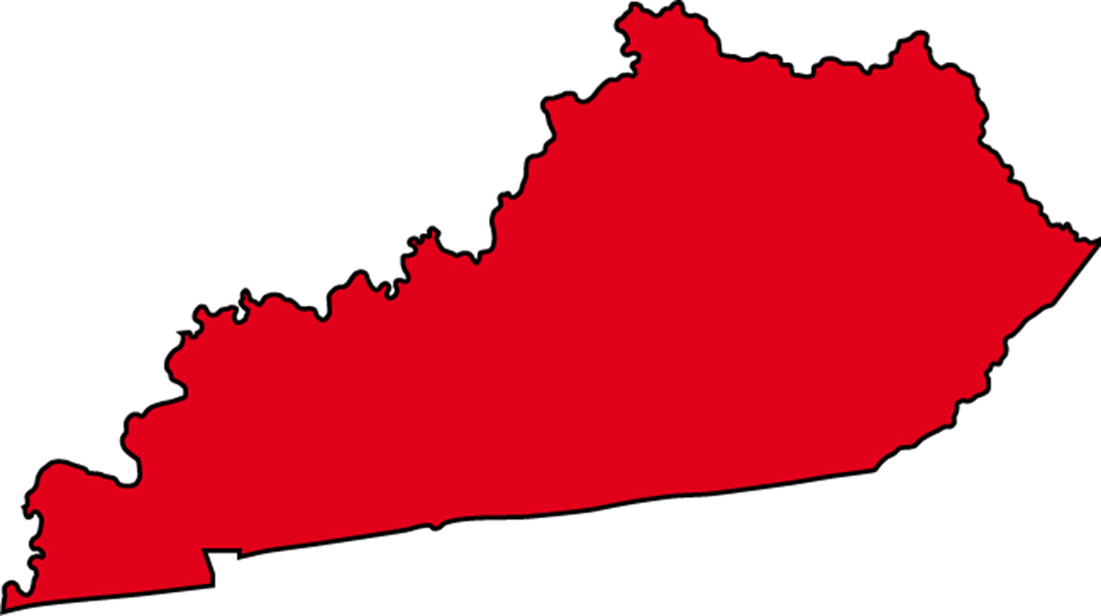 Red state map clipart vector library Kentucky State Map with cities - blank outline map of Kentucky vector library
