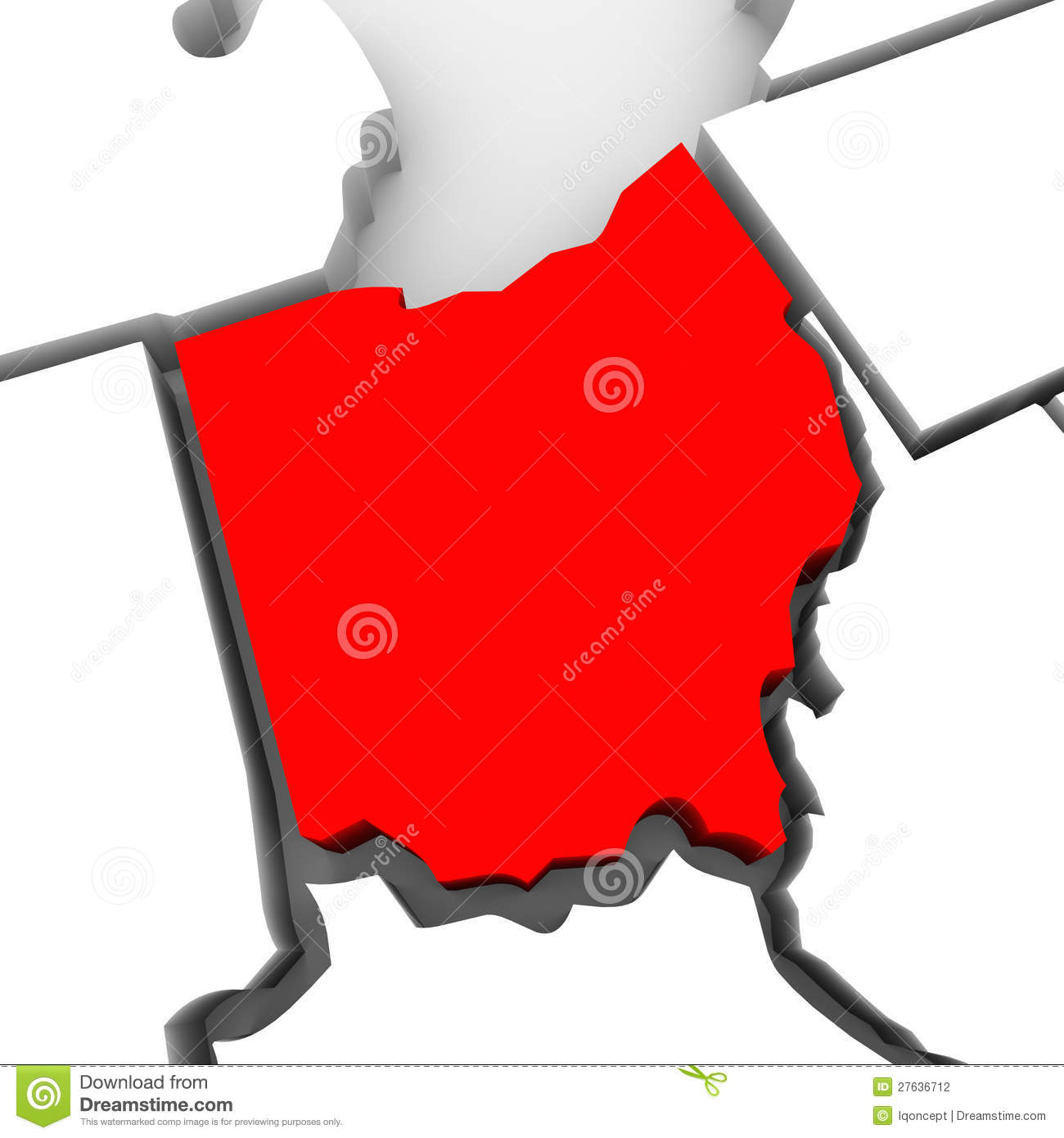 Red state map clipart jpg freeuse stock Ohio Red Abstract 3D State Map United States America Stock ... jpg freeuse stock