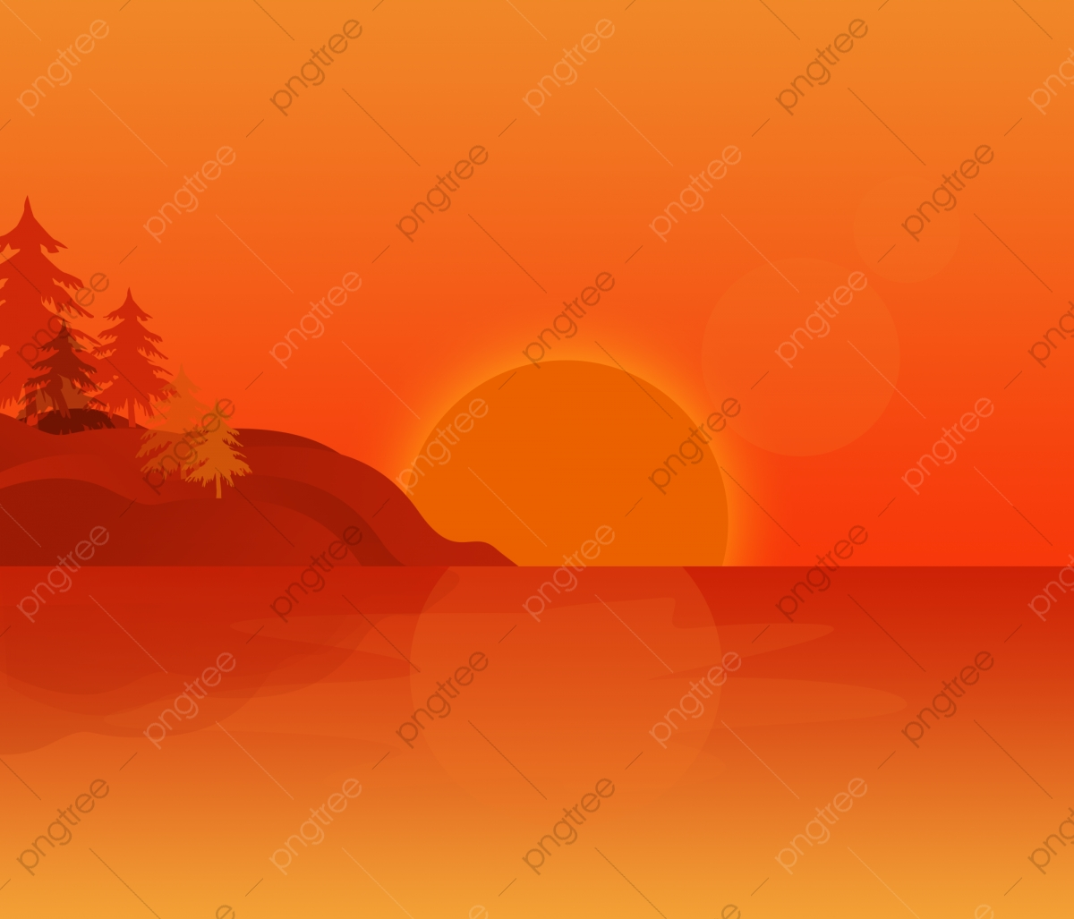 Sunset And Palm, Sunset Clipart, Red, Wave PNG Transparent ... picture download