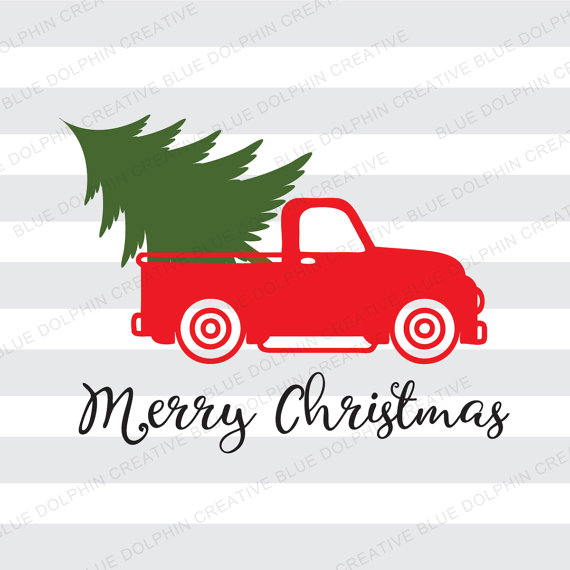 Red truck wuth a christmas tree clipart svg freeuse stock Vintage Truck Christmas tree delivery SVG dxf png pdf jpg ai ... svg freeuse stock