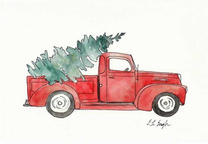 Old truck with christmas tree in back clipart png vector stock Pin by Art Zone on Watercolor Arts | Christmas tree painting ... vector stock