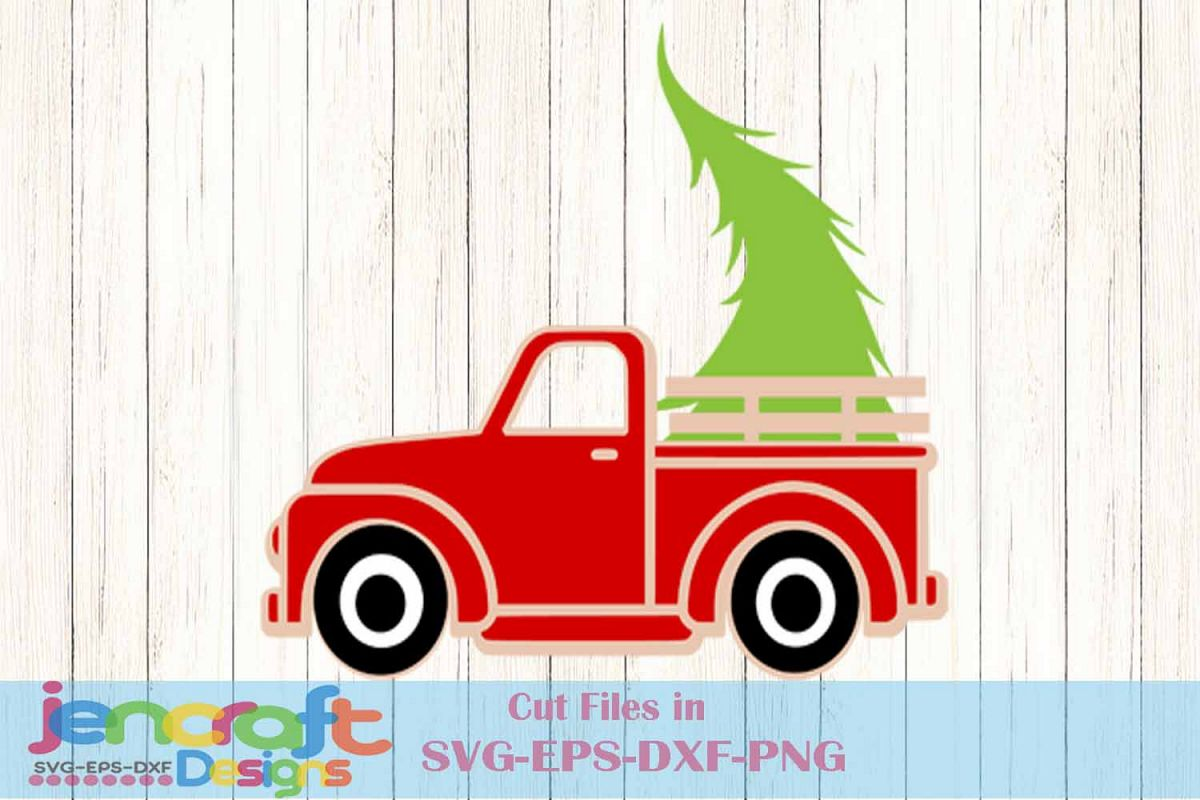 Red truck wuth a christmas tree clipart clip art transparent stock Vintage Red Christmas Truck with Tree SVG Classic truck SVG clip art transparent stock