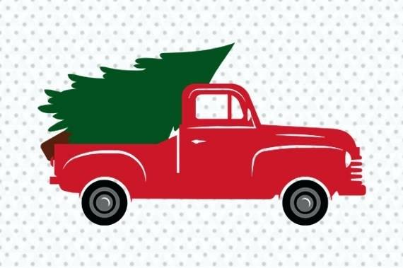 Old truck with christmas tree in back clipart png picture freeuse library Vintage Old Red Pickup Truck With Tree Print Only Christmas ... picture freeuse library