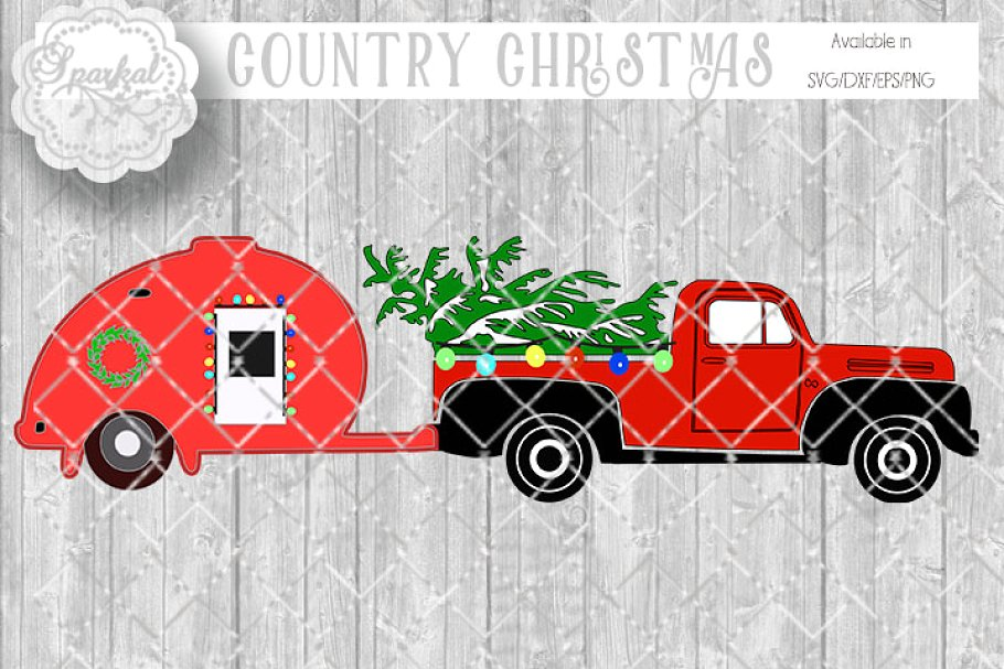 Red vintage ford truck clipart with tree clipart freeuse Vintage Tear Drop and Truck SVG clipart freeuse
