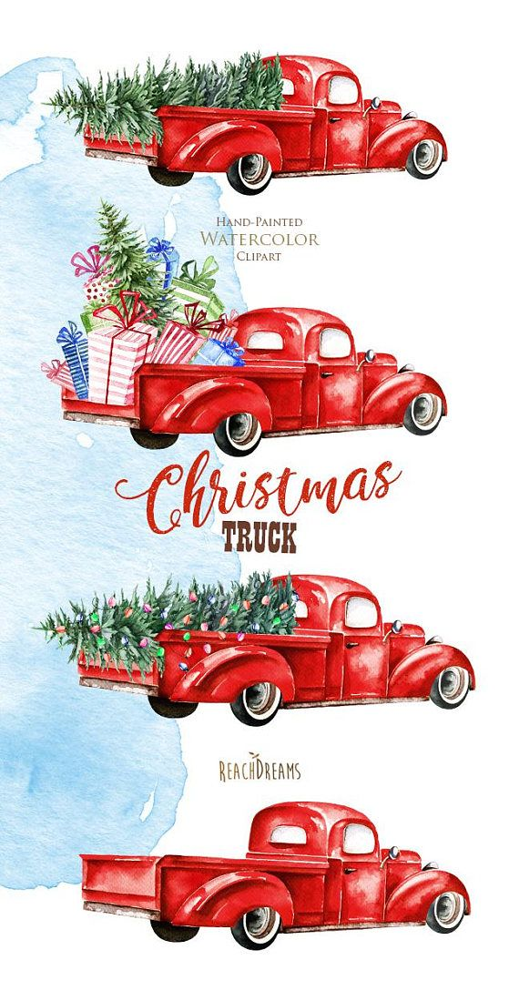 Red vintage ford truck clipart with tree clipart transparent stock Watercolor Christmas Truck Vintage Red Pickup Pine Tree ... clipart transparent stock