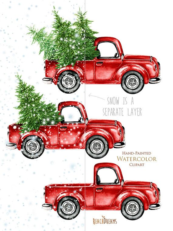 Old truck with christmas tree in back clipart png clip art library download Watercolor Christmas Truck, Vintage Red Pickup, Pine Tree ... clip art library download