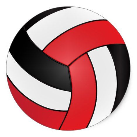 Red volleyball clipart banner black and white Red, White and Black Volleyball Classic Round Sticker ... banner black and white
