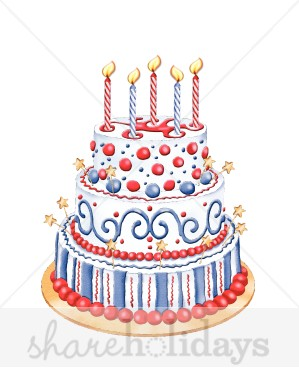 Red white and blue birthday cake clipart image Patriotic Cake Clipart | Birthday Cake Clipart image