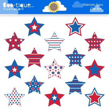 Clipart- Patriotic Stars Digital Clip art. Red, White and Blue Stars  Clipart. clip art black and white library