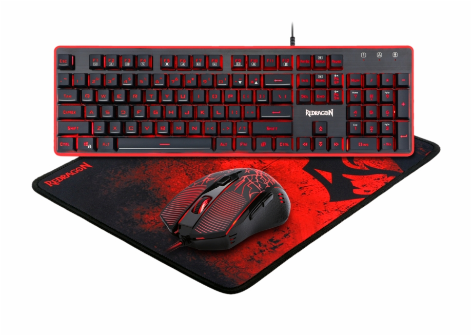 Redragon clipart vector black and white Redragon S107 Gaming Keyboard, Mouse, Mouse Pad, Mechanical ... vector black and white