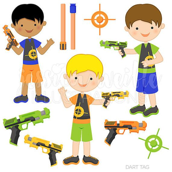 Clipart nerfgun clip library download Dart Tag Cute Digital Clipart for Commercial or by ... clip library download