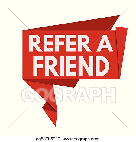 Refer a friend clipart png transparent download Vector Art - Refer a friend red origami speech bubble ... png transparent download