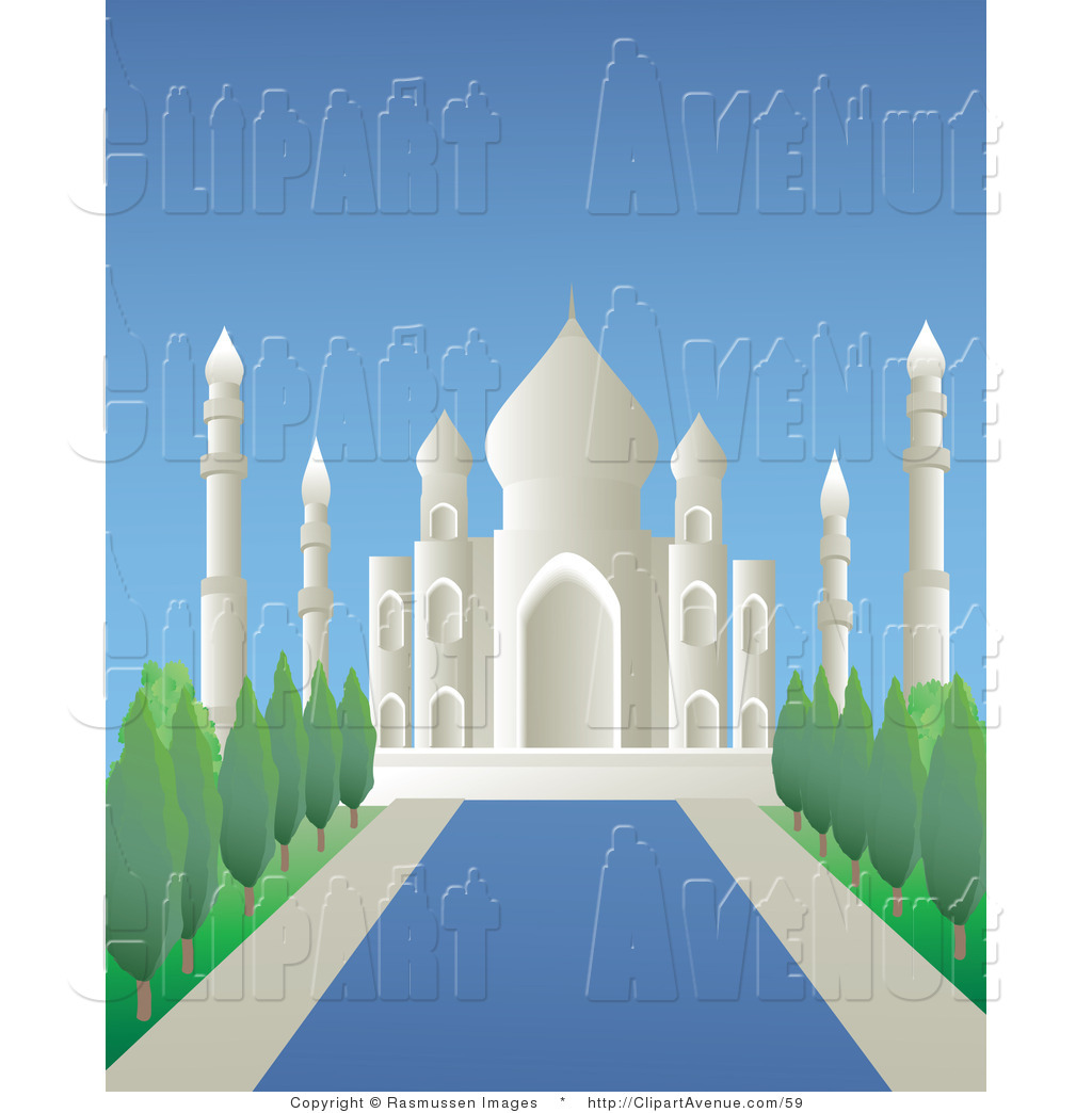 Avenue Clipart of a Reflecting Pool Leading Bordered by ... picture free download