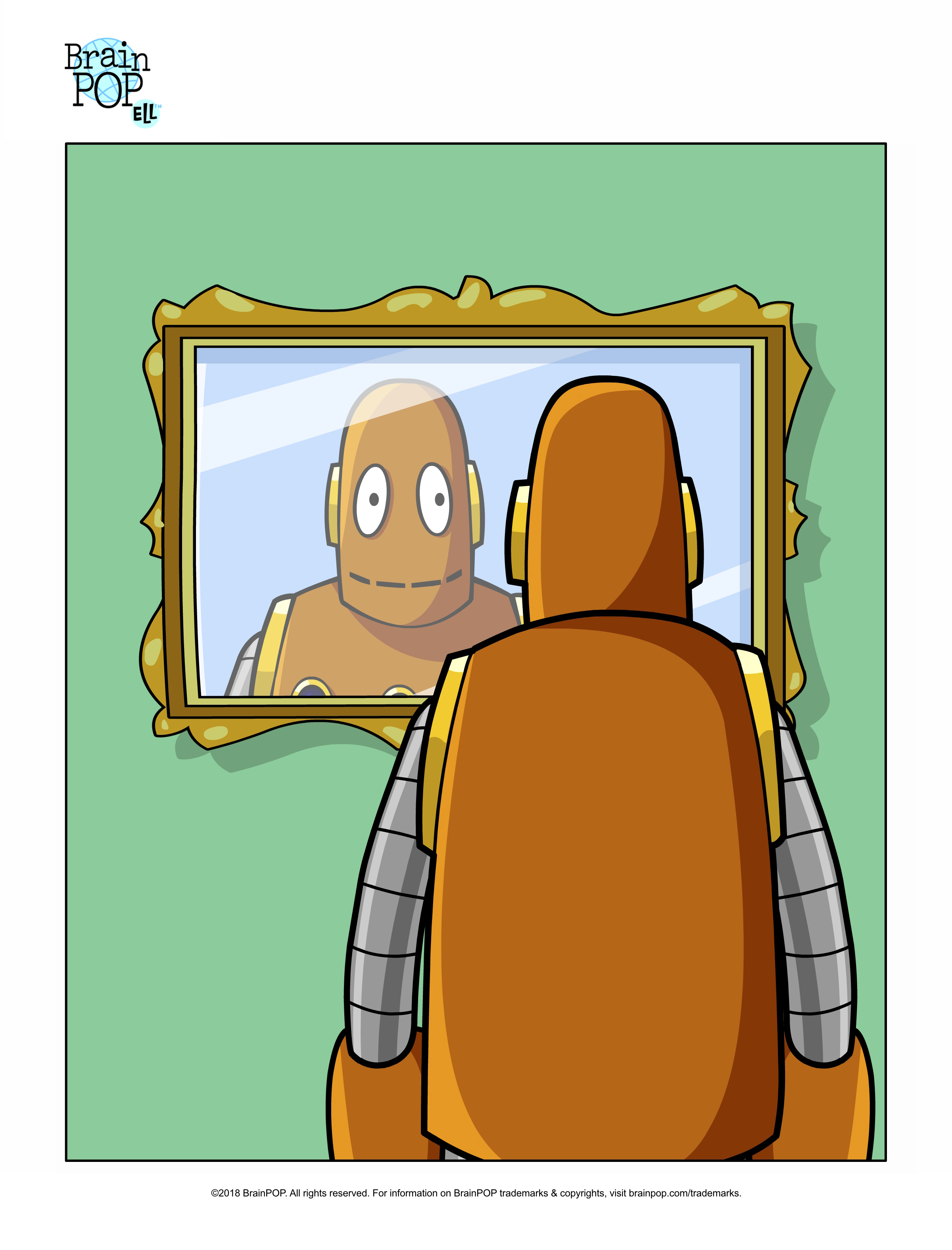 Who is That? Picture Prompt: Reflexive Pronouns | BrainPOP ... clipart black and white library