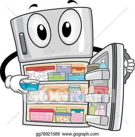 Refrigerator cartoon clipart banner free library EPS Vector - Mascot refrigerator open full. Stock Clipart ... banner free library