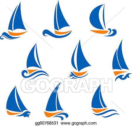 Vector Clipart - Yachting and regatta symbols. Vector ... picture black and white stock