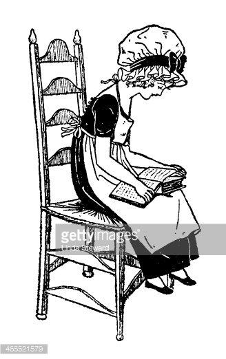 Regency Era Girl Sitting on A Chair, Reading stock vectors ... svg transparent