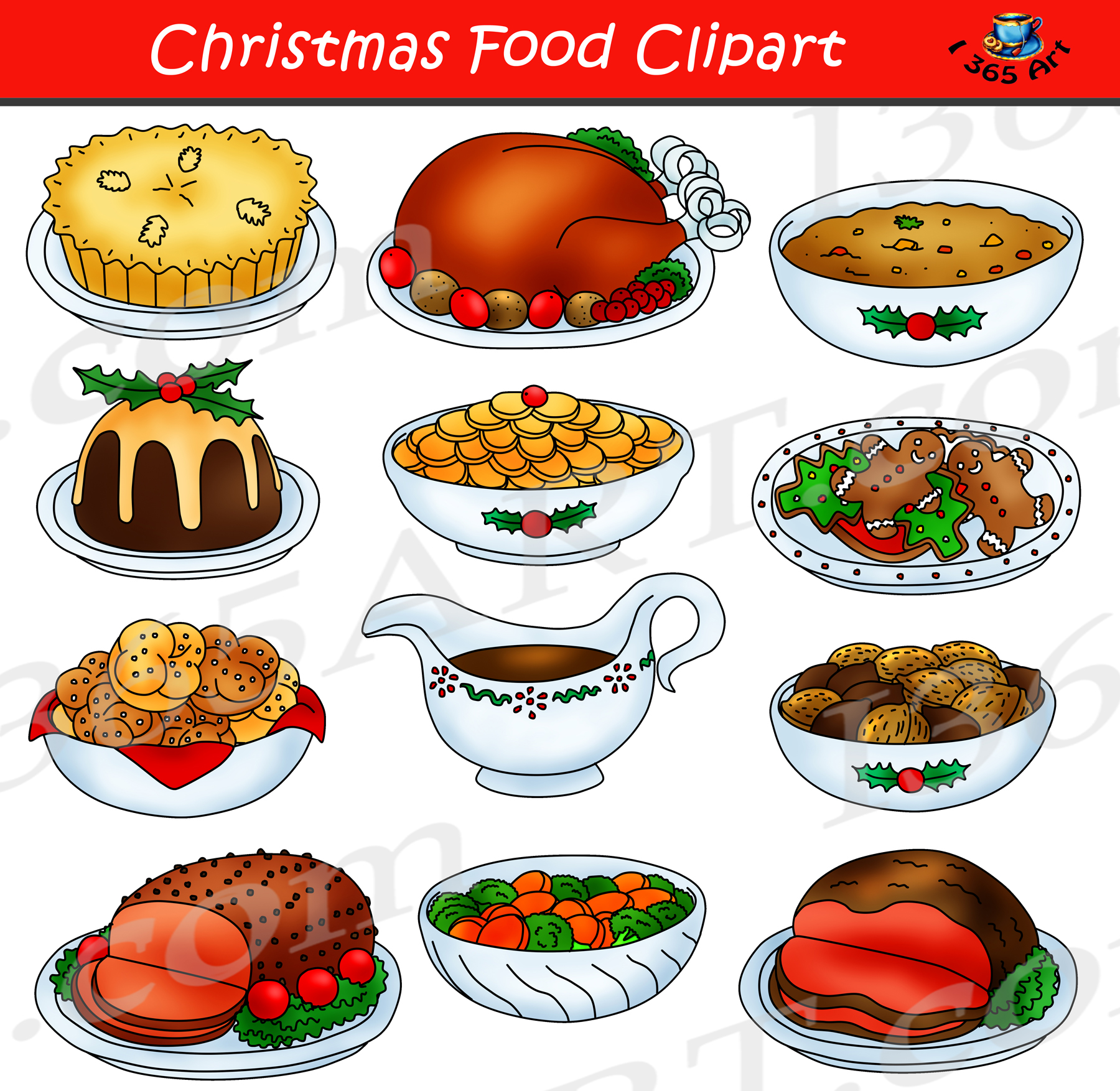 Reigning clipart jpg free download Christmas Food Clipart Graphic Set jpg free download