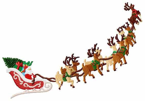 Reindeer and santa clipart clip art black and white Santa\'s Sleigh and Reindeer Christmas Machine Embroidery 2 ... clip art black and white