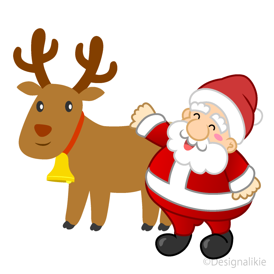 Reindeer and santa clipart png black and white library Cute reindeer and Santa Clipart Free Picture|Illustoon png black and white library