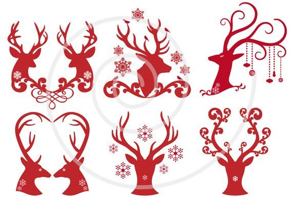 Christmas deer, reindeer, antlers, digital clip art ... royalty free