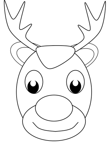 Reindeer face clipart black and white image royalty free download Christmas Reindeer Face coloring page | Free Printable ... image royalty free download